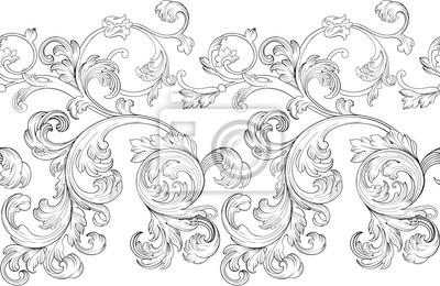 Naklejka Baroque renaissance monogram floral ornament, leaf scroll engraving retro floral pattern decorative design filigree calligraphic heraldic branch on white background.