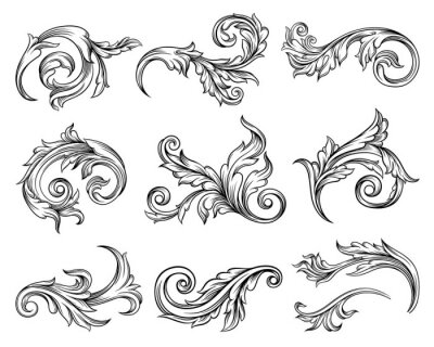 Naklejka Baroque Scroll as Element of Ornament and Graphic Design with Spirals and Rolling Circle Motif Vector Set