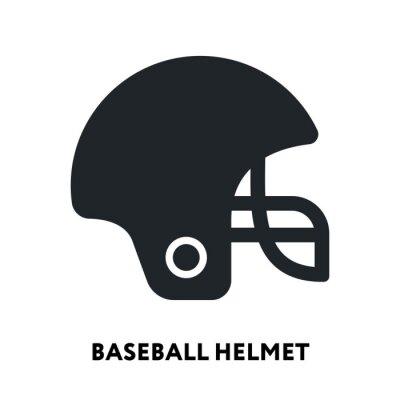 Baseball Football Helmet. Vector Flat Line Icon Illustration.