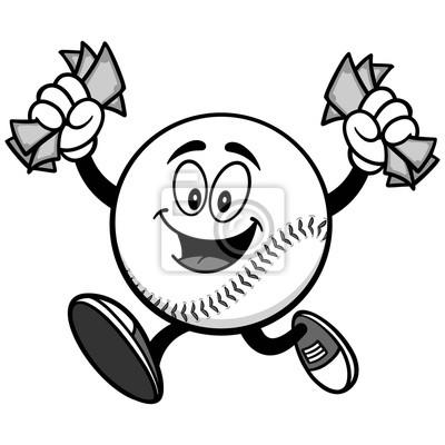 Baseball Mascot Bieganie Z Money Ilustracja