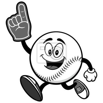 Baseball Mascot Running z Finger Foam Ilustracja