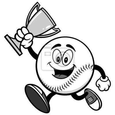 Baseball Mascot Running z ilustracji Trophy