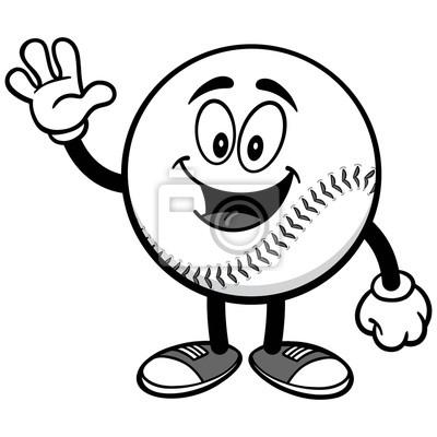 Baseball Mascot Waving Ilustracji