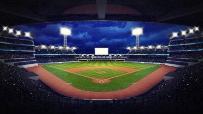 Baseball Stadium pod widokiem na dachu z fanami