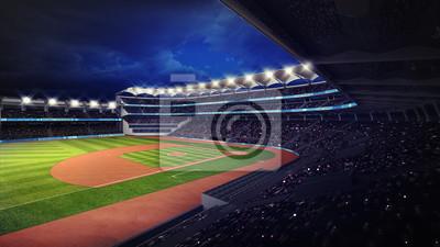 Baseball Stadium z fanami pod dachem widoku trybun