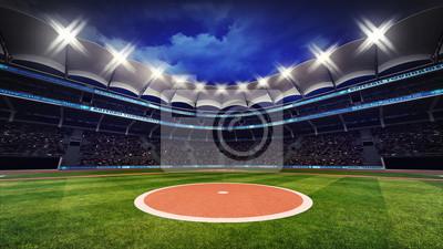 Baseball Stadium z fanami pod dachem z reflektorami