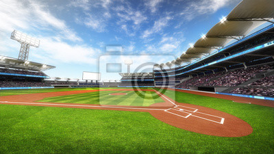 Baseball Stadium z fanami przy słonecznej pogodzie