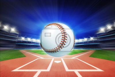 baseball z baseball stadionu w motion blur
