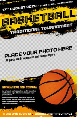Naklejka Basketball tournament poster template with ball and place for photo