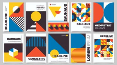 Naklejka Bauhaus forms. Square tiles with modern geometric patterns with abstract figures and shapes. Contemporary graphic bauhaus design vector set. Circle, triangle and square lines art
