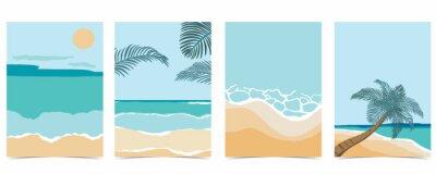Naklejka Beach postcard with sun,sea and sky in the daytime