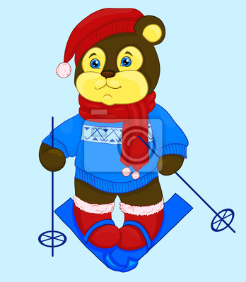 bear cartoon w czapce i sweter, narty