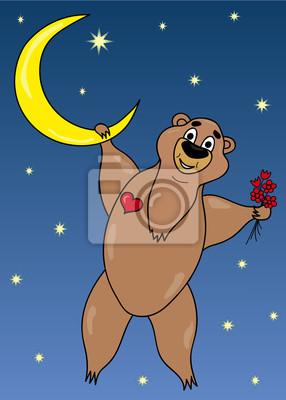 Bear on moon illustration