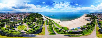 Naklejka Beautiful 360 degree panoramic view of the Burgas Bay and the Burgas Sea Garden, Bulgaria