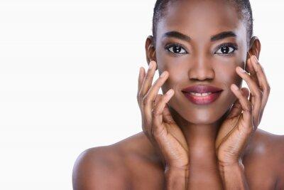 Naklejka Beautiful black naturally Woman with clean fresh skin