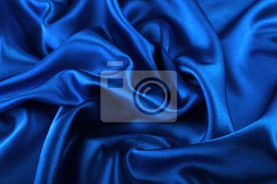 Naklejka Beautiful blue silk fabric texture background