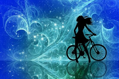 Naklejka Beautiful girl silhouette and bicycle on fantasy sky stars. Young woman in dress with long curly hair standing with bike on bright abstract space background.