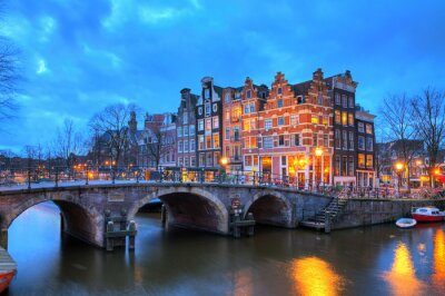 Naklejka Beautiful long exposure HDR image of the Brouwersgracht in Amsterdam, the Netherlands, a UNESCO world heritage site.