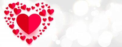 Naklejka beautiful paper hearts style love banner design
