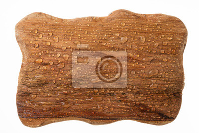 Beautiful raindrops on a wooden frame made of wood on white background.