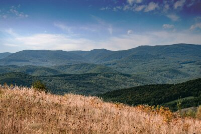 Beautiful summer panoramic landscape in mountain highlands