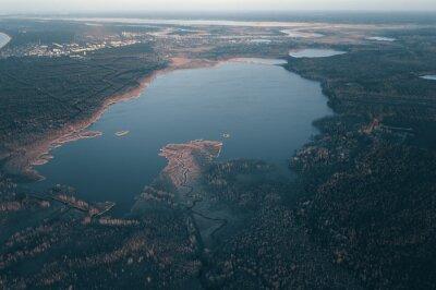 Beautiful Sunrise Sunset over Calm Lake. Aerial view of lake