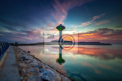 Naklejka Beautiful Sunrise view at Dammam Al Khobar Corniche Saudi Arabia.