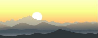 Naklejka Beautiful sunset in the mountains. Horizontal vector landscape.