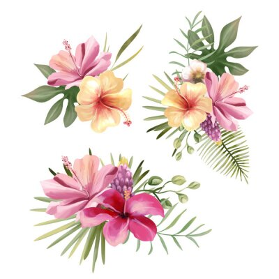 Naklejka Beautiful tropical exotic flowers, floral bouquets, compositions, arrangement, wreaths watercolor illustration isolated on white