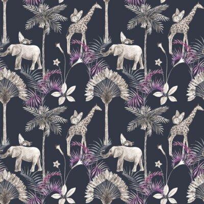 Naklejka Beautiful vector african safari animal tropical seamless pattern. Trendy style. Print with elephants and giraffe. Dark background,