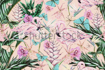 Naklejka  Beautiful vintage seamless floral jungle pattern background. Colorful watercolor tropical flowers, palm leaves and plants, butterflies, bird of paradise flower with pink flamingos, exotic print
