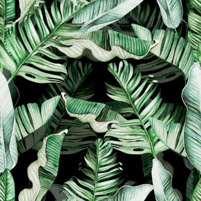 Naklejka Beautiful watercolor seamless pattern with tropical leaves and banana leaves.