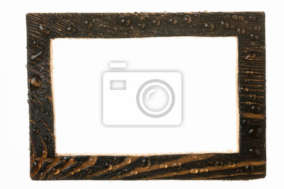 Beautiful wooden frame in raindrops on white background.