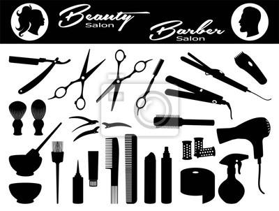 Naklejka Beauty salon and  Barber salon. Isolated black silhouette.