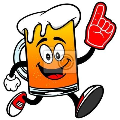 Beer Mascot Running with Foam Finger