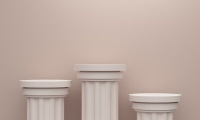 Beige abstract background with vintage columns platforms and the wall. 3d rendering