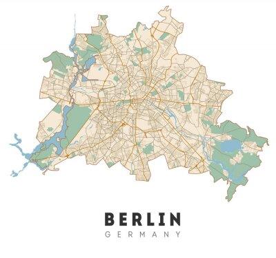 Naklejka Berlin map. Detailed poster city map Berlin. Germany