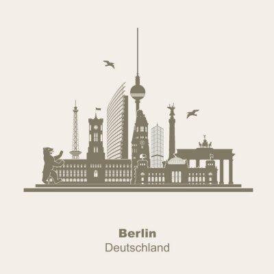 Naklejka Berlin Silhouette Logo Umriss Schattenriss Fernseturm Funkturm Berliner Bär, zwiedzanie, Brandenburger Tor Rotes Rathaus Potzdamer Platz Siegessäule Gedächtniskirche Reichstag