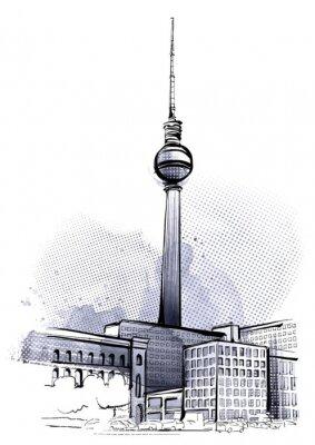 Naklejka Berlin Szkic