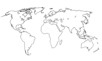 Naklejka Best doodle world map for your design. Hand drawn freehand editable sketch. Planet Earth simple graphic style. Vector line illustration, EPS 10