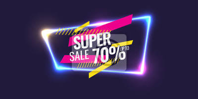 Naklejka Best sale banner. Original poster for discount. Geometric shapes and neon glow against a dark background.