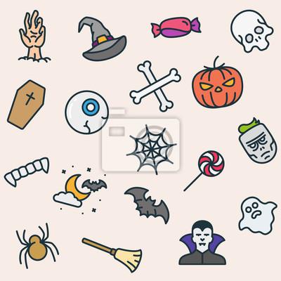 Bez szwu Deseń Halloween Ikony Minimalistyczne Kolor Płaski Linia Zarys Piktogram Symbol skoku