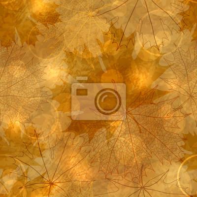 Bez szwu deseń - Jesienne liście, ilustracji wektorowych, eps-10