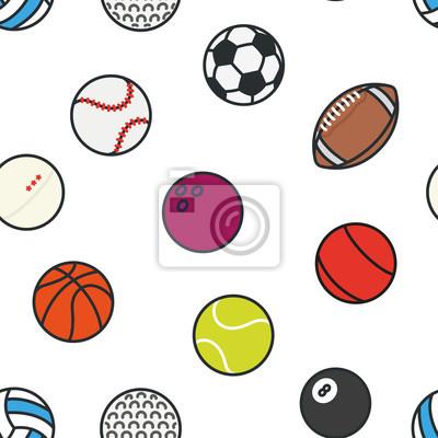 Bez szwu deseń sportowych kulkami Minimalny kolor płaski zestaw ikon wektorowych linii. Piłka nożna, piłka nożna, tenis, golf, kręgielnia, koszykówka, hokej, siatkówka, rugby, basen, baseball, ping po