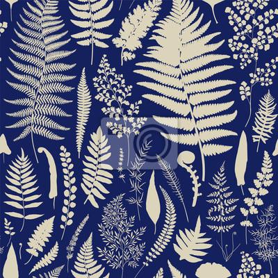 Bez szwu deseń. Vintage wektor botaniczne ilustracji. niebieski