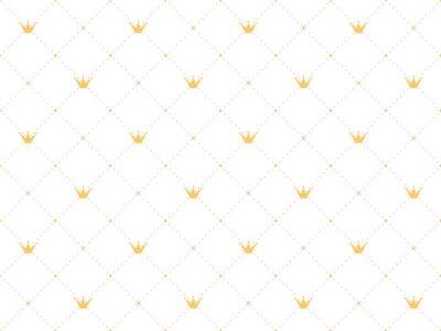 Naklejka Bez szwu deseń w stylu retro ze złotą koroną i różowy kropki polka na białym tle. Śliczne tapety dla małych księżniczek.