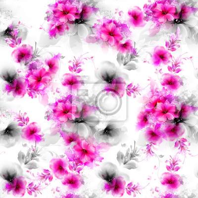 Bez szwu deseń z różowy i szary streszczenie kwiatów i elementów dekoracyjnych na białym tle.