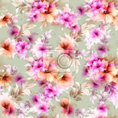 Bez szwu deseń z różowy i szary streszczenie kwiatów i elementów dekoracyjnych na na jasnozielonym tłem