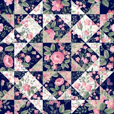 Naklejka bez szwu deseniu z róż patchwork