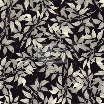 Bez szwu kwiatowy wzór z liści ficus szare